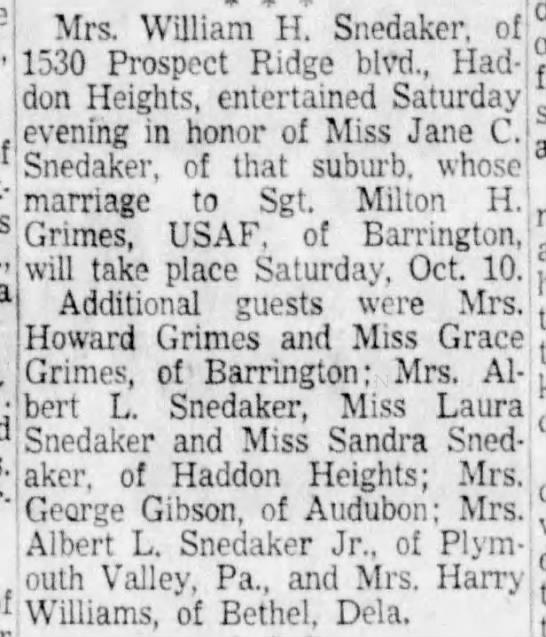 William H Snedaker - Party for Miss Jane C. Snedaker