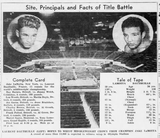 Pictured: Stadium with Jake Lamotta and Dauthille with tale of the tape.