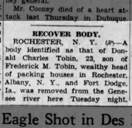 Donald C. Tobin Body recovered