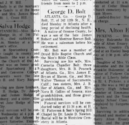 George D. Bolt Obituary  Wednesday October 28, 1964 pg. 6