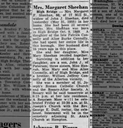 1955 - Margaret Connolly Sheehan Obituary