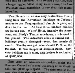 1848 huge fire in Detroit 300 families burned out
