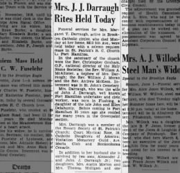 Darraugh obit 1939 daughter of a delahunty