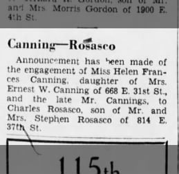 Engagement announcement 1 Jan 1939
