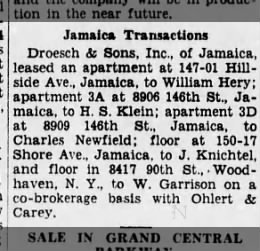 Charles B Newfield rents apartment 3D, 89-09 146th Street from  Droesch & Sons, the Brooklyn Daily Eagle, 13 Fab 1935, Wed, Page 28.