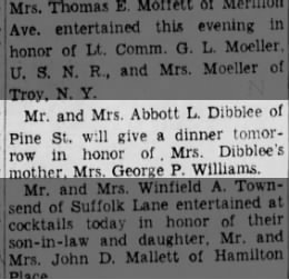 Abbot and Gwendolyn host a dinner in honour of Gwendolyn's mother - Mon. 29 Oct 1945