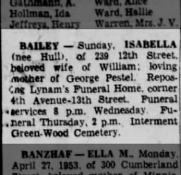 Bailey, Isabella Hull Pestel death 1953