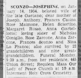 p 32, col 2 - Death of Josephine Sconzo