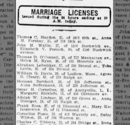 Marr License Daisy Wilson/Cornelius Foote 5 Sept 1912 Bklyn Daily Eagle