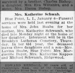 Obituary Katherine Schwa(m)b (misspelled) in caption but correct in obituary.