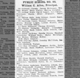 Adelaide Branch Honor Roll PS 93 Brooklyn  Oct 11 1912