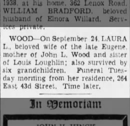 9/24/1938 Brooklyn Daily Eagle obit, Laura Loughlin Wood, (1858-1938)