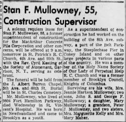 Mullowney,Stan Obituary, DOD 11 Nov 1953, Pub 13 Nov 1953, Brooklyn Daily Eagle