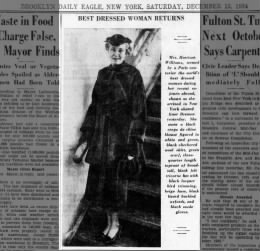 1934 Best Dressed Woman Mrs. Harrison Williams returns to NY - Brooklyn Daily Eagle