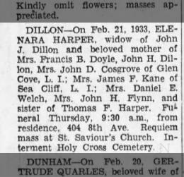 Obit for Elenara Harper Dillon 1933