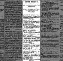 1874  article about lawrence gaffney being appointed an elector for fifth ward