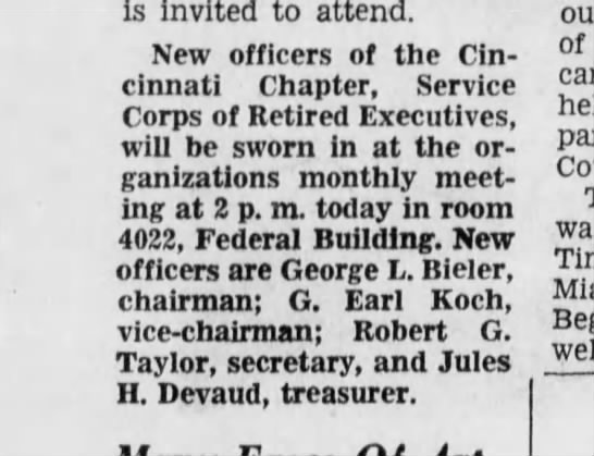 1968-10-04 Koch, G Earl new officer of Cin Chap Serv Corps of Retired Executives vice chairman