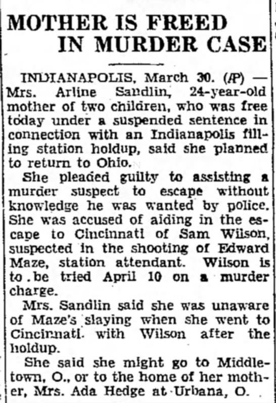Arline Sandlin March 30, 1939 The Evening Independent Massillion, OH