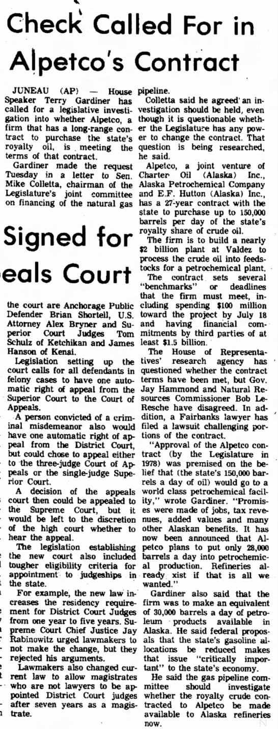 Gardiner calls for investigation into Alpetco contract, 26 March 1980