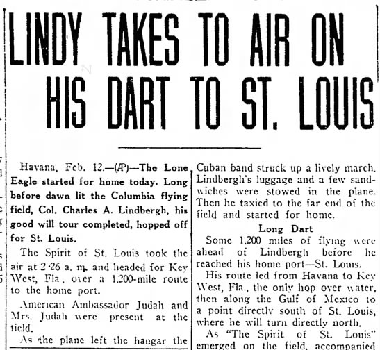 Charles Lindbergh Heads Home in The Spirit of St. Louis