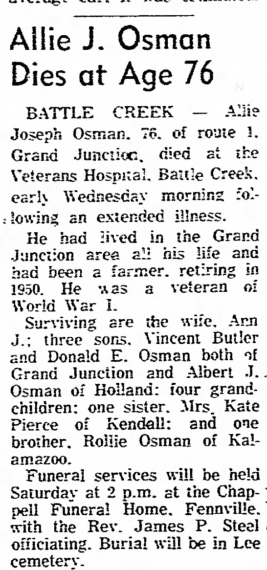 Allie J. Osman obituary may be brother of William Osman