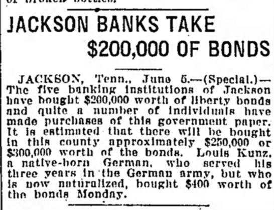 The Tennessean June 5, 1917 Louis Kunz buys bonds