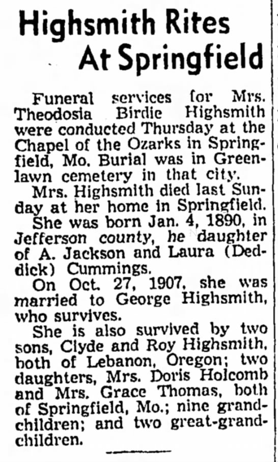 Theodosia Birdie Cummings Highsmith obit