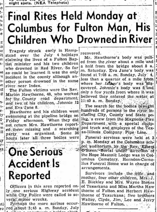Hope Star, 3 July 1954 p1, Marion Hawthorne drowning