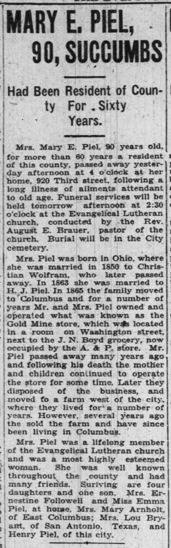 Mary Piel, mother of Ernestine Followell, obit