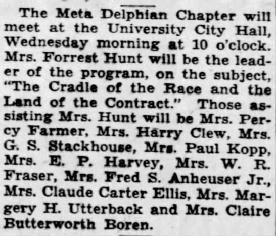Viola Farmer Assists at Meta Delphian Chapter Meeting, 5 March 1933 St. Louis PD