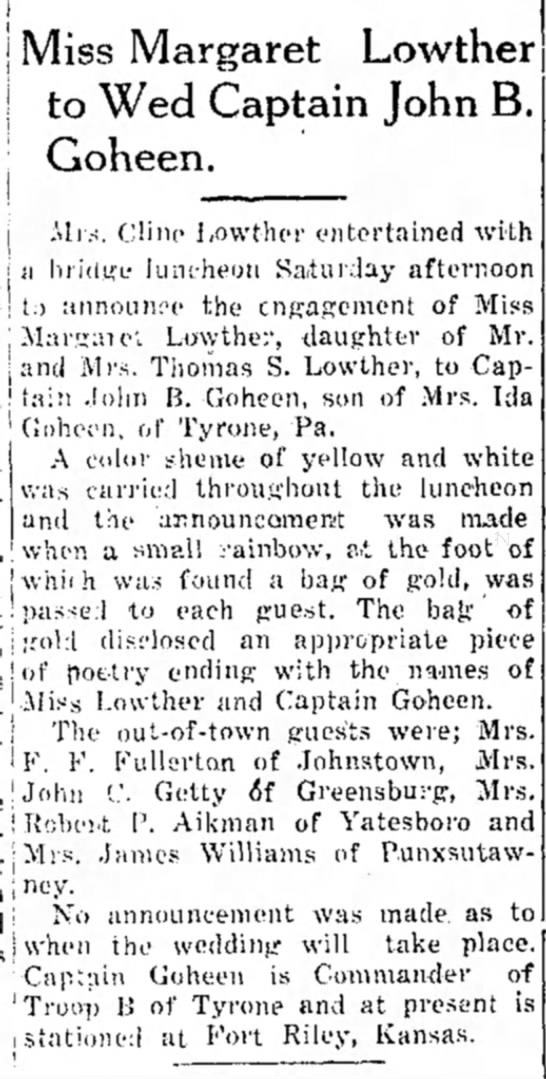wedding annoucement for Captain JOhn B. Goheen