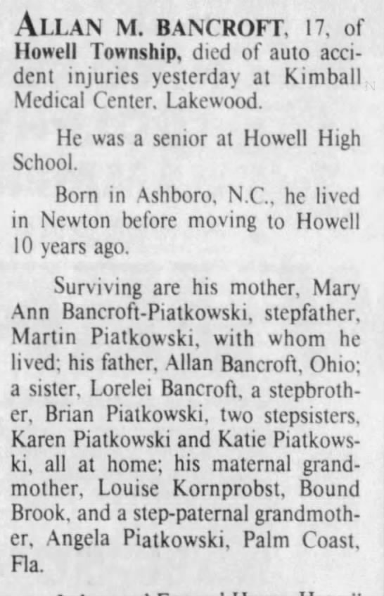 Marint Piontkowski, father of deceased...lists other children Howell NJ, 1989