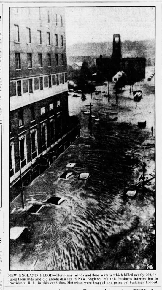 Providence, RI, experiences massive flooding due to 1938 hurricane