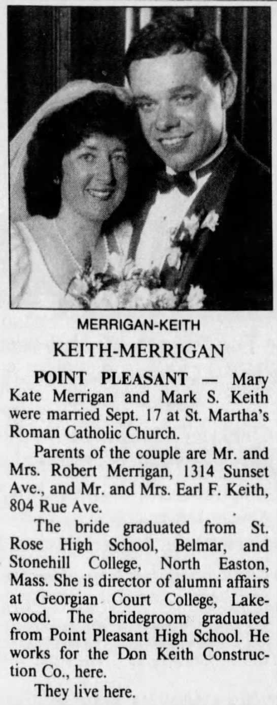 Wedding Announcement for Mark S Keith and Mary Kate Merrigan