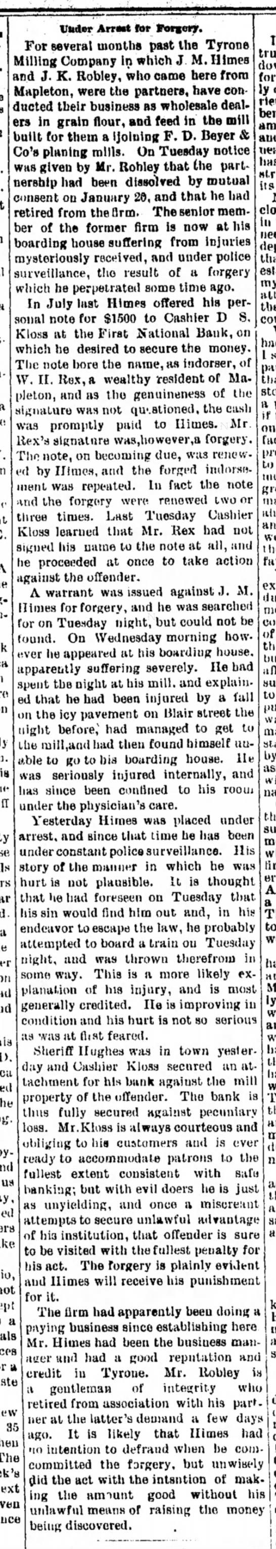John K. Robley-mill-Tyrone Daily Herald-p.4-28 Jan 1892
