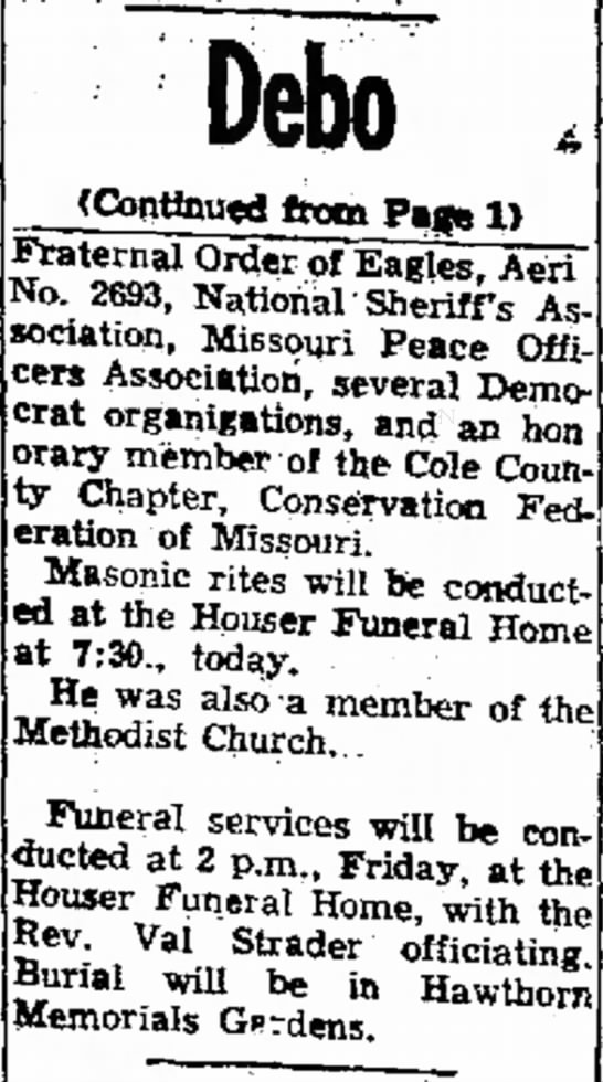 Horace O Debo newspaper obituary continued from page 1