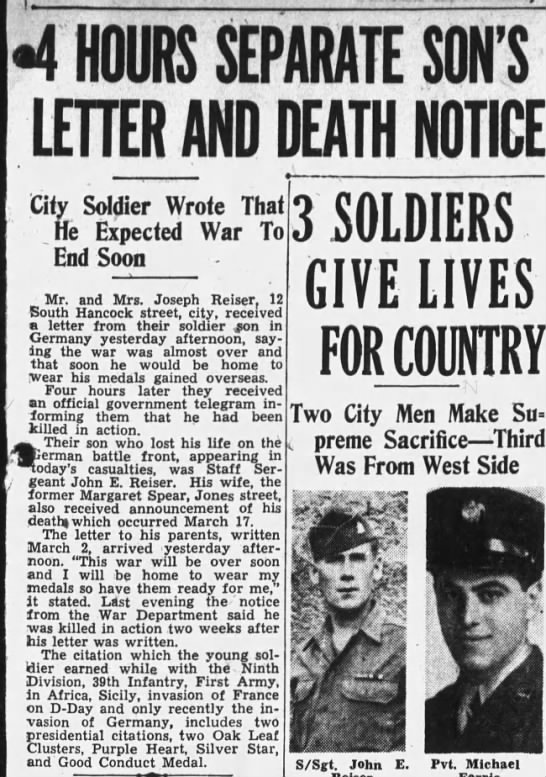 4 hours separate son's letter and death notice: 1945