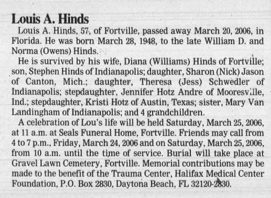 Louis A. Hinds Greenfield Daily Reporter 24 Mar 2006