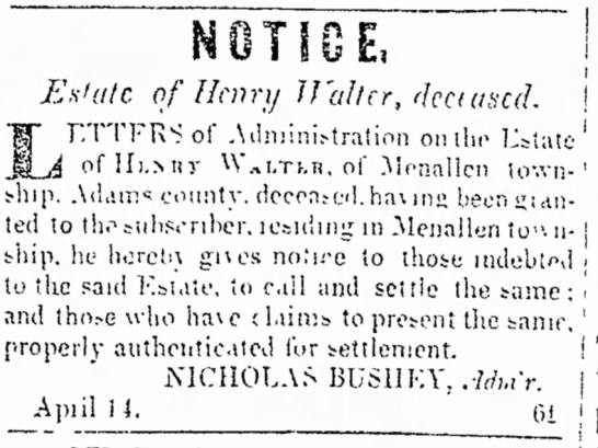 Notice of Estate of Henry Walter, 1845