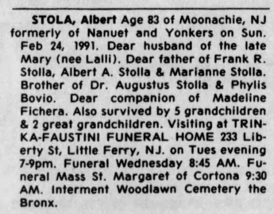 Death Notice for Albert Stola 83  d. 24 Feb 1991.  pg16