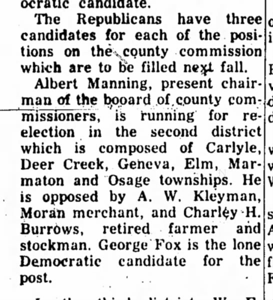 A.W. Kleyman - Race for County Commissioner 1956