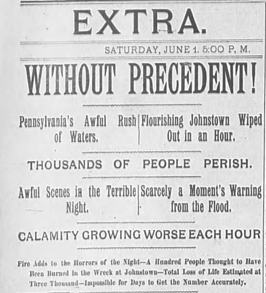 Johnstown Flood of 1889 headlines