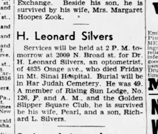 Hyman Leonard Silvers obit