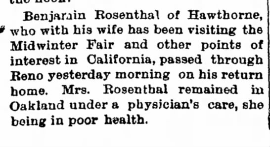 1894 May 2 Ben Henley Returns from Fair, Vesta stays in Oakland in Poor health