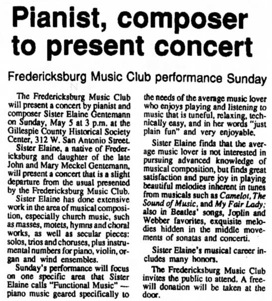 Sister Elaine Gentemann30 Apr 1991Kerrville Times (TX)