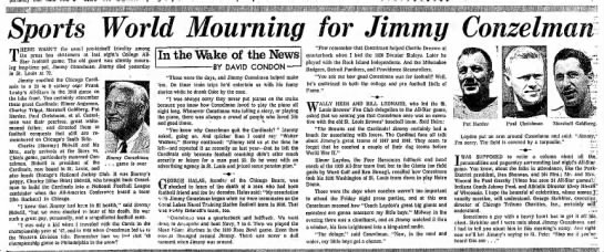Sports World Mourning for Jimmy Conzelman