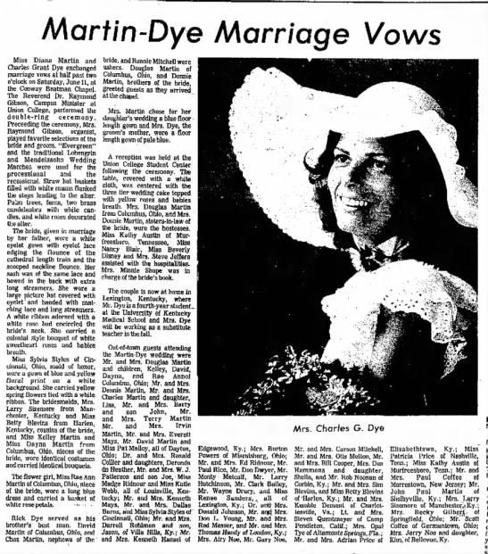 Swafford file Diane Martin wedding minnie shupe 13 Jul 1977