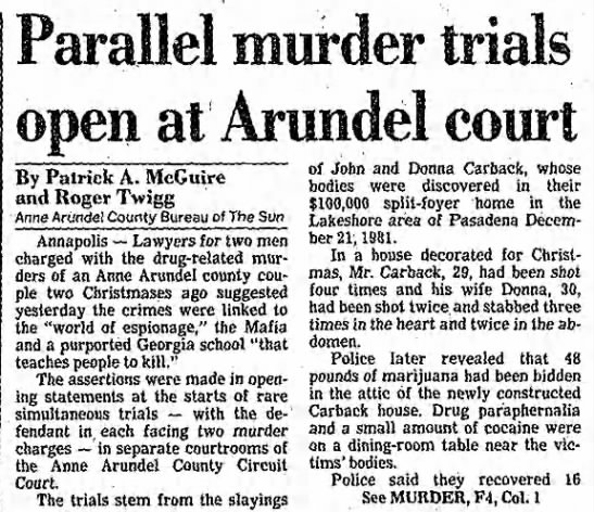 1983 Aug 3-Carback, John and Donna-Parallel murder trials open at Arundel court