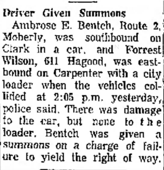 Ambrose hit Loader and given summons 13 May 1969