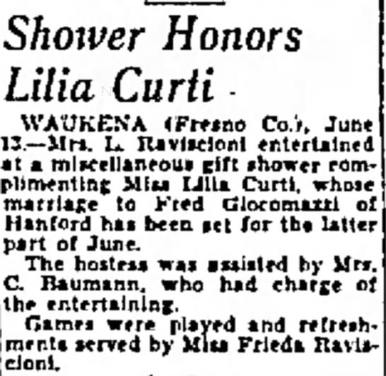 Lillia Curti's wedding shower announcement in Fresno Bee 14 Jun 1936